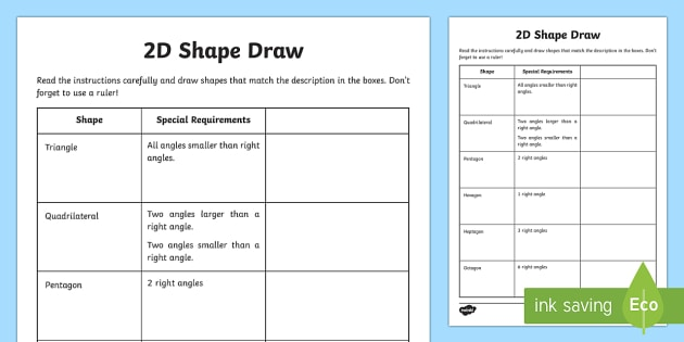 2d Shape Draw Worksheet   Worksheet