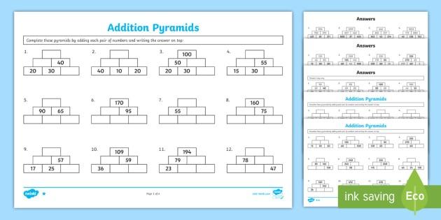 Addition Pyramids Worksheet