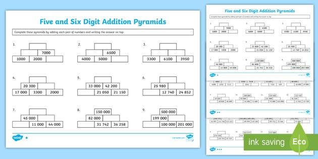 5 6 Digit Addition Pyramids Worksheet   Worksheet