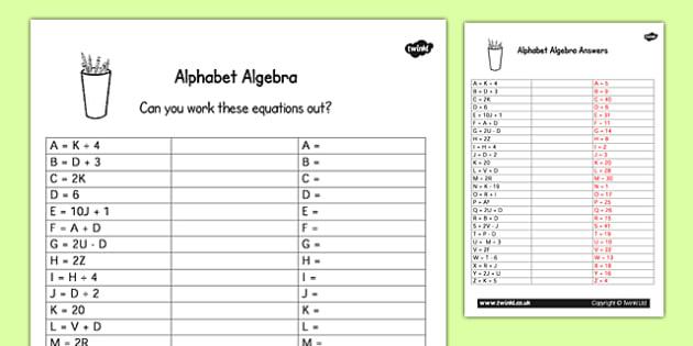 Alphabet Algebra Worksheet