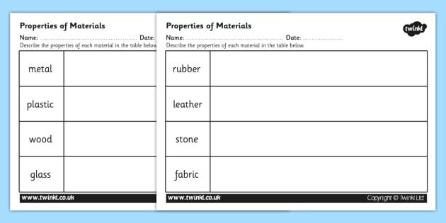 Properties Of Materials Worksheet