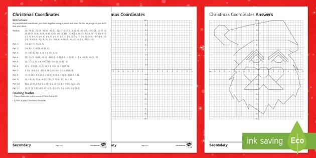 Christmas Coordinates Santa Worksheet   Worksheet