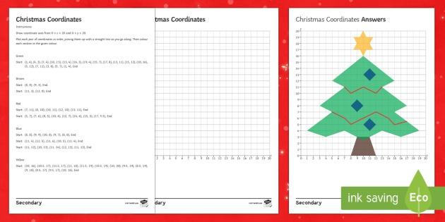 Christmas Coordinates Christmas Tree Worksheet   Worksheet