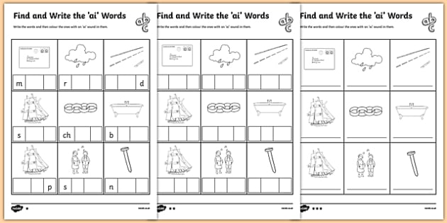 Find And Write The Ai Words Phonics Differentiated Activity Sheet Pack