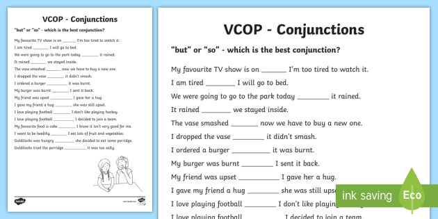 But' And 'so' Conjunctions Worksheet   Activity Sheet