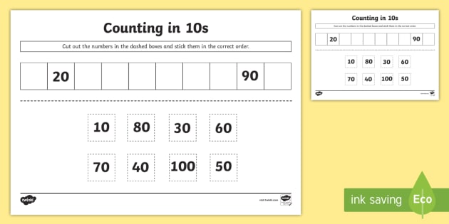 Counting In 10s Cut And Stick Worksheet