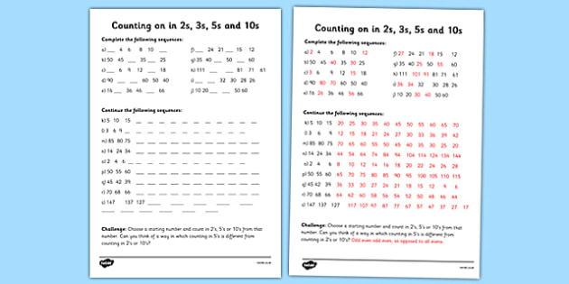 Skip Counting In 2s, 3s, 5s And 10s Worksheet