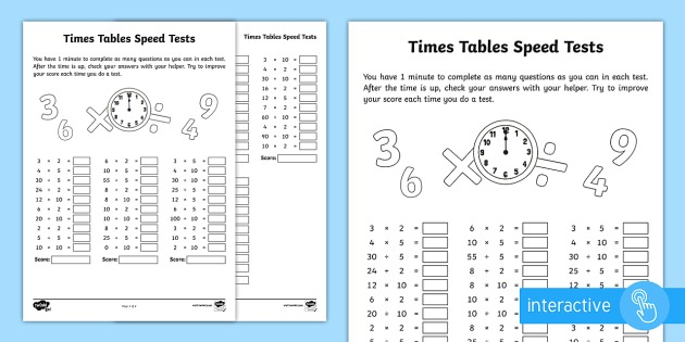Year 2 Maths Times Tables Speed Tests Homework Worksheet