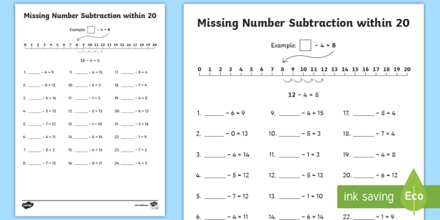 Missing Number Subtraction Within 20 Worksheet   Activity Sheet