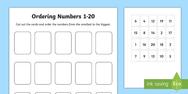 Ordering Numbers Cut And Stick Worksheet   Activity Sheet
