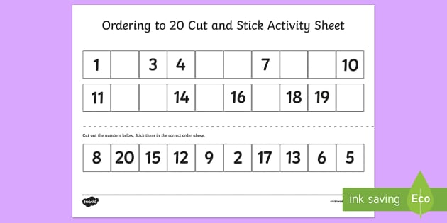 Ordering Numbers To 20 Cut And Stick Worksheet