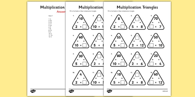 Multiplication Triangles Worksheet   Activity Sheet 2, 5 And 10