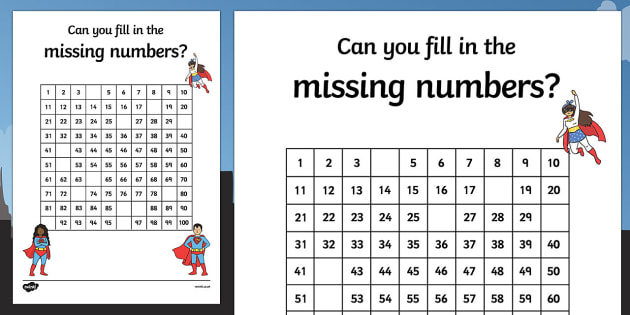 Superhero Themed Missing Numbers 100 Square Worksheet   Activity Sheet