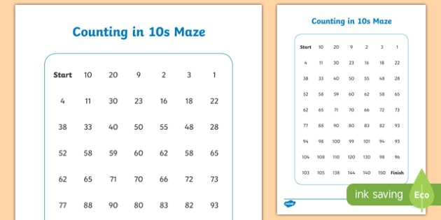 Counting In 10s Maze Worksheet   Activity Sheet