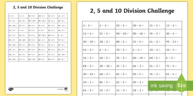 2,5 And 10 Division Challenge Worksheet   Activity Sheet