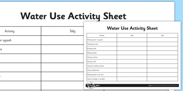 Water Use Survey Worksheet   Worksheet