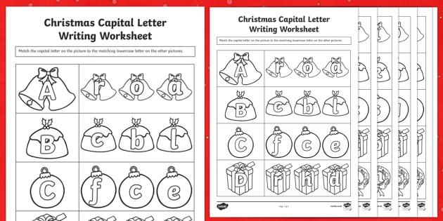 Christmas Themed Capital Letter Matching Worksheet