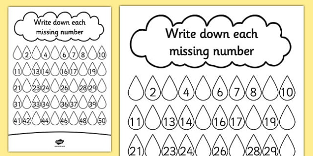 Raindrop Missing Number Worksheet   Activity Sheet