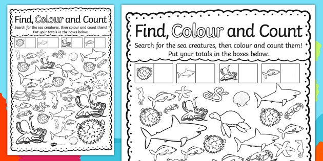 Under The Sea Find, Colour And Count Worksheet   Worksheet