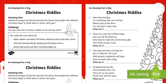 Christmas Riddles Worksheet   Worksheet