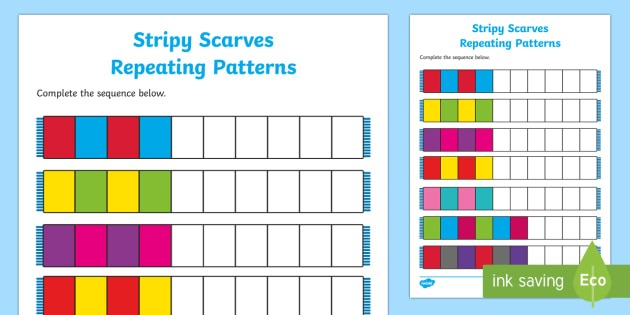Stripy Scarves Repeating Patterns Worksheet   Activity Sheet
