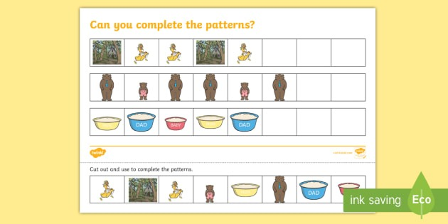 Goldilocks And The Three Bears Complete The Pattern Worksheet