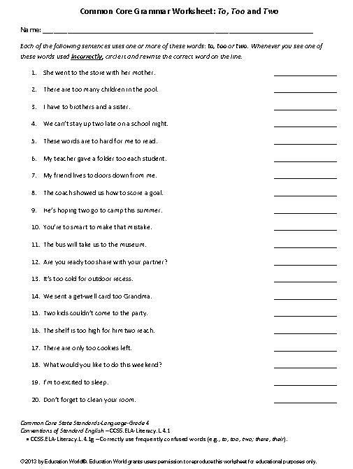 Coomon Core Grammar Worksheet  To, Too And Two