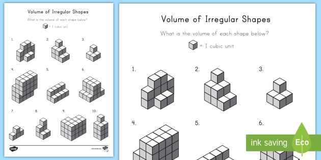 Volume Of Irregular Shapes Worksheet   Activity Sheet