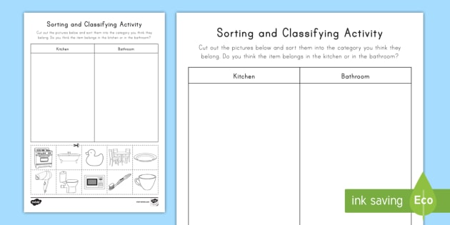 Sorting & Classifying Worksheet   Activity Sheet