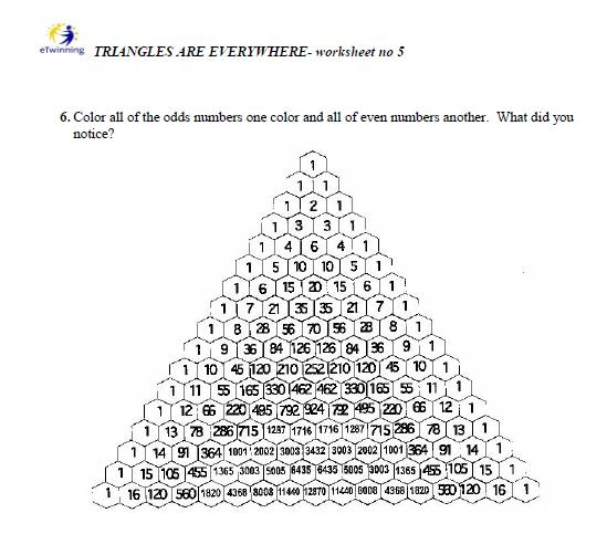 Triangles Are Everywhere  Worksheet About Pascal Triangle From Poland