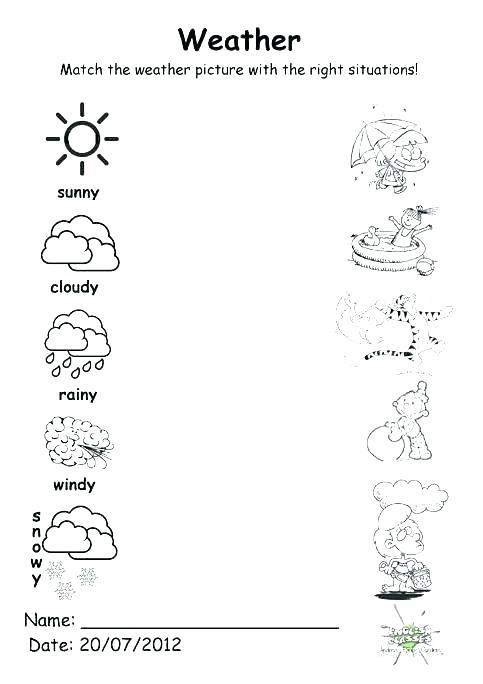 Weather Worksheets Kindergarten Free Printable For Middle School