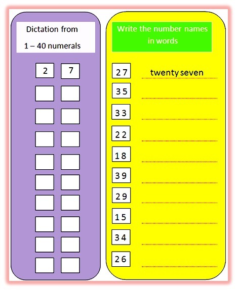 Worksheet On Number Names From One To Forty