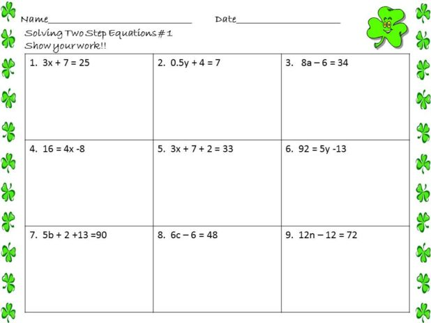 Solve Two Step Equations Worksheet  Equations  Alistairtheoptimist