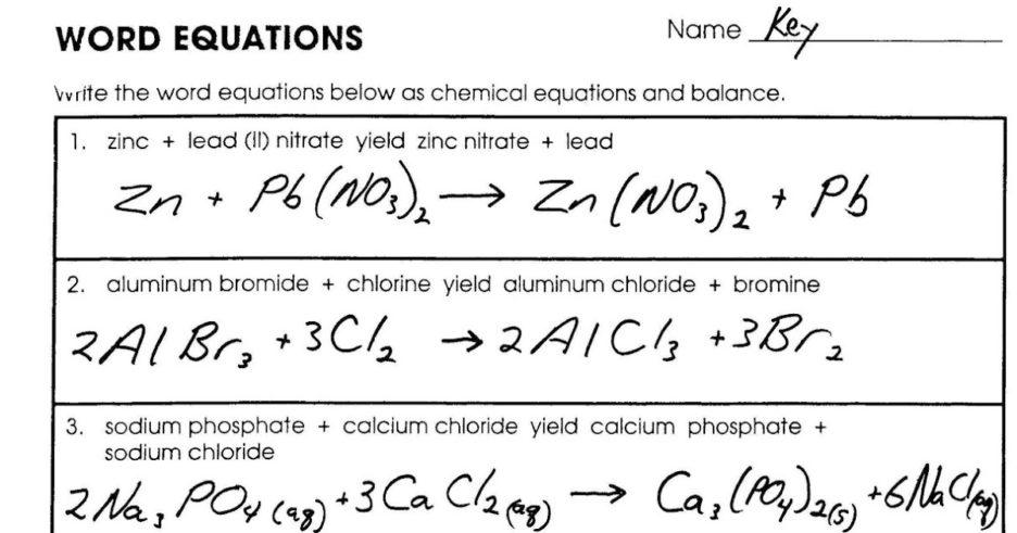 Word Equations Worksheet  Equations  Alistairtheoptimist Free