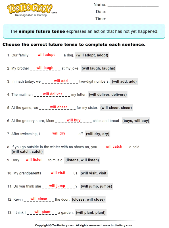New 30 Worksheets On Simple Tenses For Grade 4