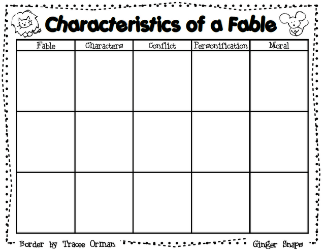Characteristics Of A Fable Graphic Organizer