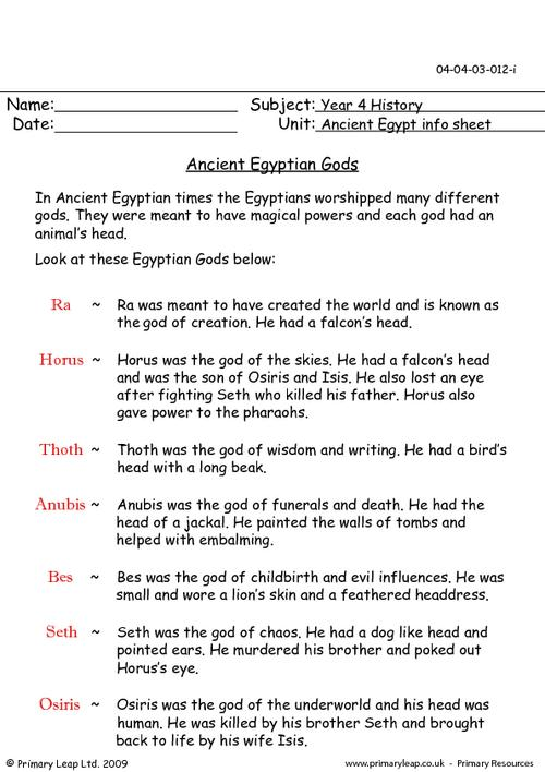 Ancient Egyptian Gods And Goddesses Information Sheet