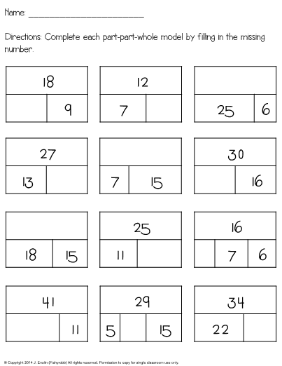 This Is A Worksheet For Adding And Subtracting Using Part Part
