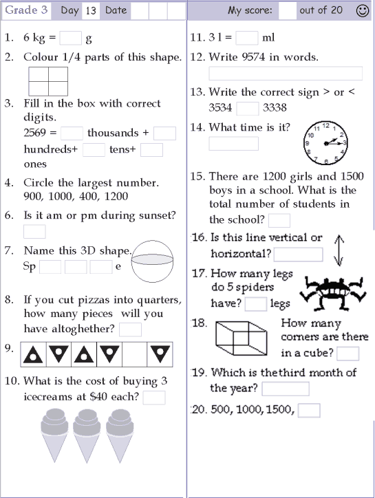 Mental Math Grade 3 Day 13
