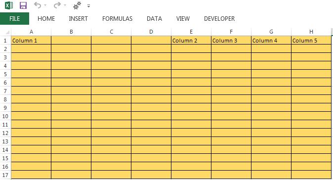 10 Column Worksheet Excel Template Inserting Columns In Excel