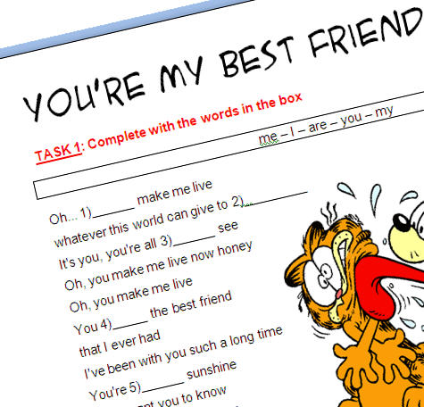 Song Worksheet  You're My Best Friend (with Video)