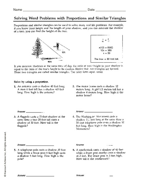 Right Triangle Trig Word Problems Worksheet