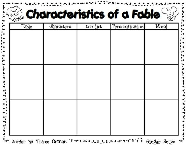 Free!!! Graphic Organizer For Characteristics Of A Fable