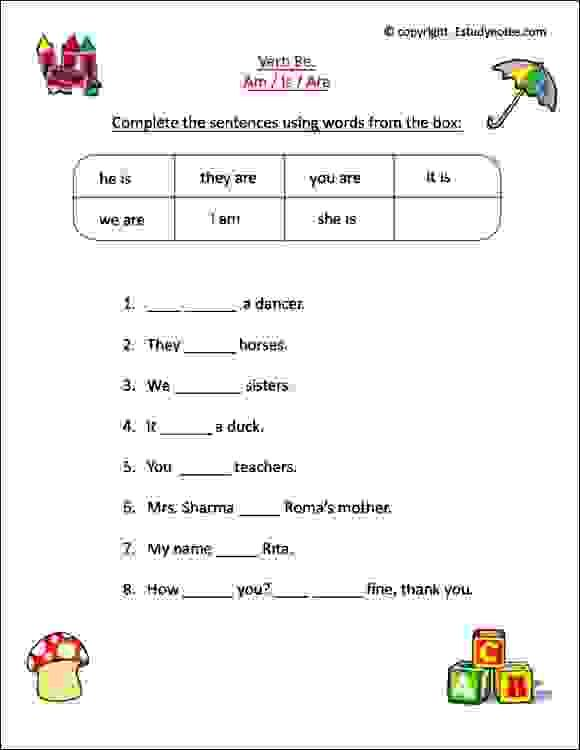 English Worksheets For Class 1 Kids To Practice Verbs Is, Am, Are