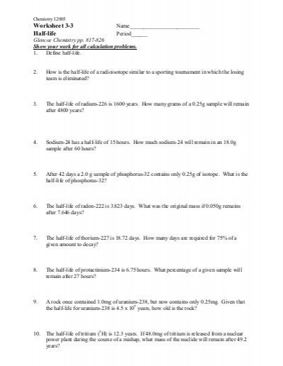 Printables  Half Life Calculations Worksheet  Mywcct Thousands Of