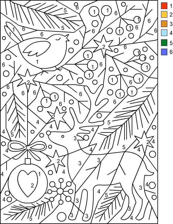 Nicole's Free Coloring Pages  Christmas   Color By Number