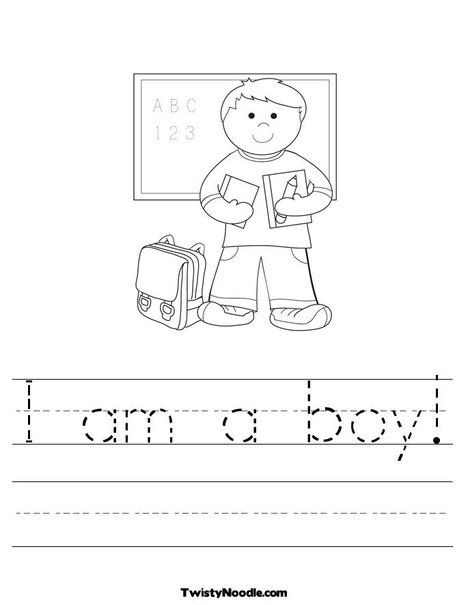 I Am A Boy Worksheet From Twistynoodle Com