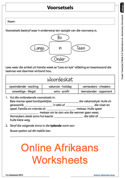 Grade 7 Online Afrikaans Voorsetsels Worksheets  For More