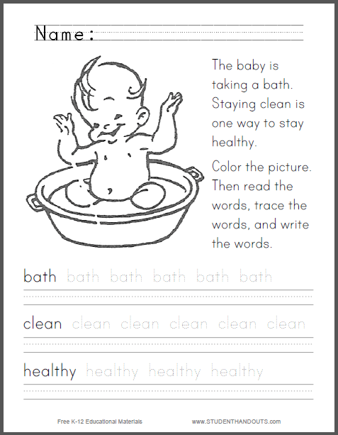Staying Clean And Healthy Primary Worksheet