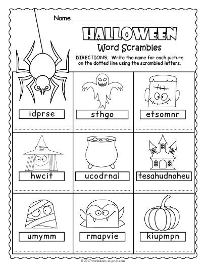Free Printable Halloween Word Scramble